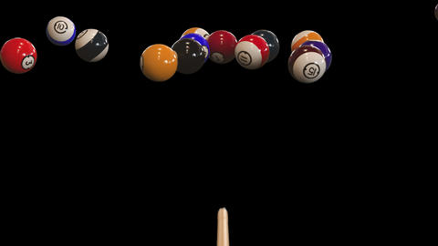 Starting shot of a billiard game with alpha channel GIF