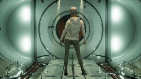Woman astronaut on a futuristic spaceship GIF