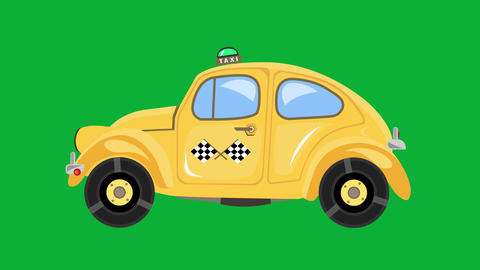 Taxi car animation on green screen. Retro yellow automobile driving on chroma key background. Fast Animation