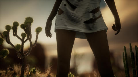 woman in torn shirt standing by cactus in desert at sunset GIF