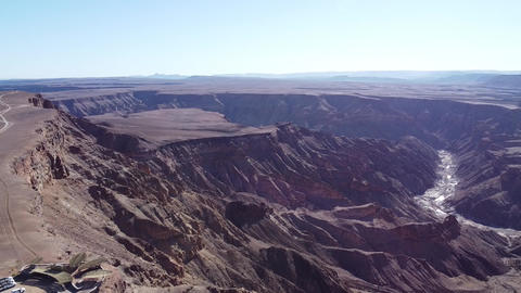 Aerial view on the Fish River Canyon with drying river in it, Namibia, Africa Live Action
