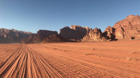Wadi Rum, Jordan - desert safari against the backdrop of beautiful mountains Live Action