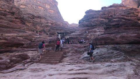 Petra, Jordan - October 17, 2019: tour groups study canyon part 9 Live Action