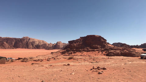 Wadi Rum, Jordan - red sand in the desert against the backdrop of rocky Live Action