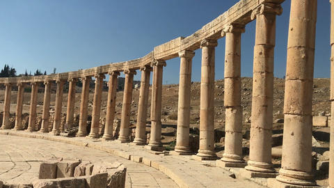 Jordan ancient Jerash old city, with greek and rome empire ruins, culture Live Action