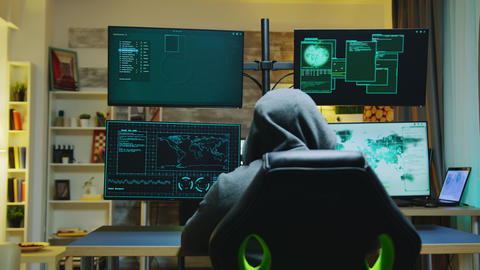 Hacker wearing a hoodie while committing cyber crimes Live Action