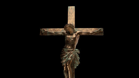 Religious cross with jesus Stock Video Footage