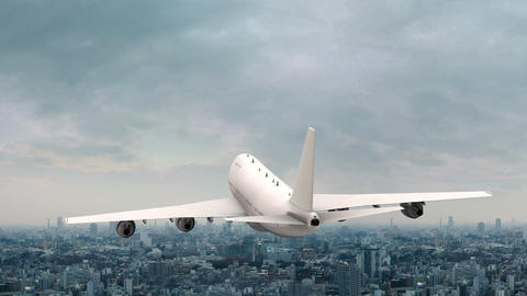 Commercial Plane Flies Over City Animation Live Action
