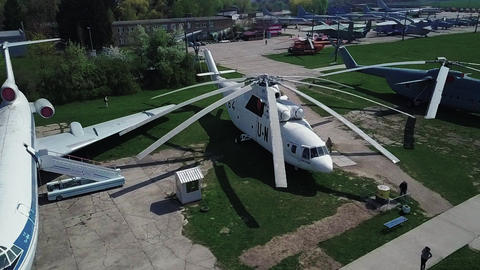 Museum of Aviation in Kyiv, Ukraine. Helicopter Live Action