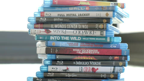 Passion for cinema, a stack of movie collection in blue ray disc Live Action