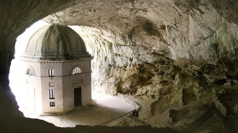 church inside cave in Italy - Marche - the temple of Valadier church near Live Action