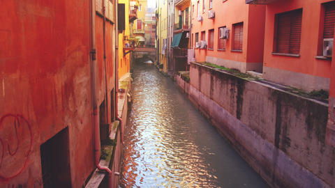 vintage canal - emilia romagna landmarks of Bologna - Italy - the Canale di Reno Live Action