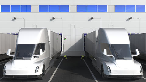 Electric trailer trucks at warehouse loading bay with flag of ISRAEL. Israeli Live Action