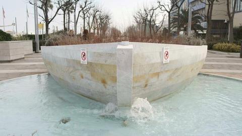 Boat fountain in Riccione - Emilia Romagna region landmarks - on Lungomare della Live Action