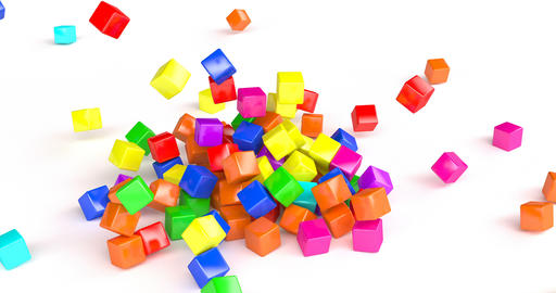 3d coloured cubes falling down for game background design. Game concept. Game Live Action