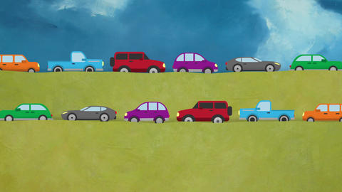 Cartoon Vector Cars Driving in Both Directions on a Countryside Footage