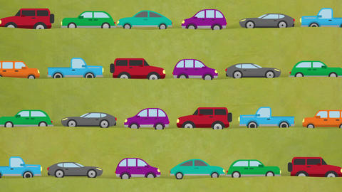 Cartoon Vector Cars Driving in Rush Hour in Both Directions Footage