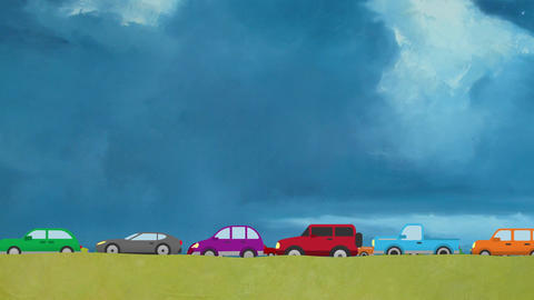 Cartoon Vector Cars Driving on Two Lanes in Rush Hour on a Big Blue Sky Backgrou Footage