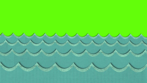 Theatrical Windy Cardboard Sea Waves Moving on a Green Screen Background Footage