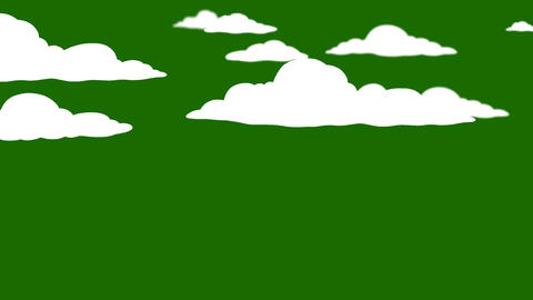 Cartoon Clouds on a Green Screen background Footage