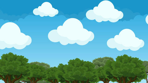 Cute and Puffy Cartoon Clouds Hovering in a Blue Sky Above the Forest Trees Footage