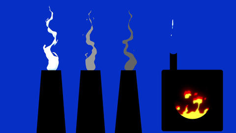 3 Factory Smokey Chimneys and Melting pot on a Blue Screen Background Footage