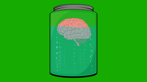 Cartoon Animation of a Brain Floating in a Jar Live Action