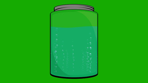 Cartoon Animation of a Jar Fill with Liquid with Bubbles Footage