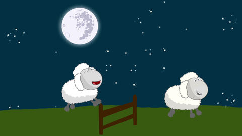 Counting Sheep that Jumping Above a Wooden Fence in a Starry Night with a Full M Footage