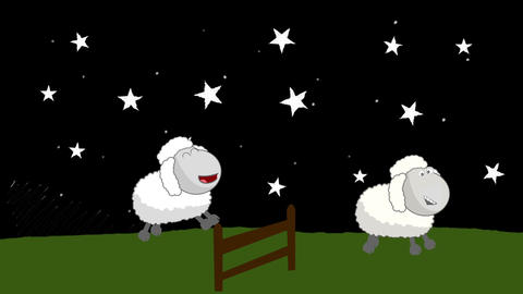 Counting Sheep that Jumping Above a Wooden Fence at Night Footage