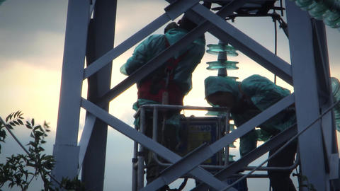 Repair work on a high-power lines 8 Footage
