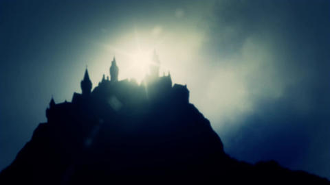 A Mysterious Big Castles on a Mountain Range on a Cloudy Day Footage