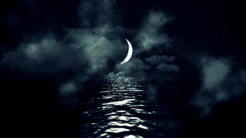 Magical Crescent Moon Above the Sea Reflecting on Water on a Cloudy Starry Night Footage