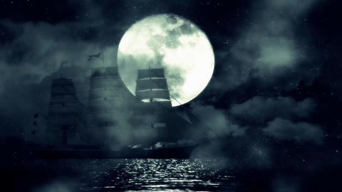 An Old Sailing ship in the Middle of a Night in the Ocean on a Full Moon Backgro Footage