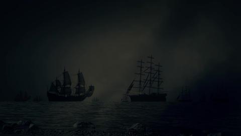 Heavy Sea Battle Between Fleets of Sailing Ships Under a Lightning Storm Footage