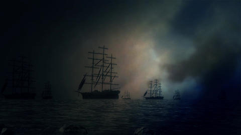 Massive Fleet of Sailing Ships Leave Shore and Sailing to the Sea Under a Lightn Footage
