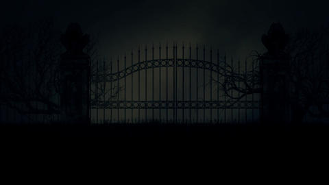 Scary and Spooky Cemetery Gate in a Stormy Rainy Night Under a Thunderstorm Filmmaterial