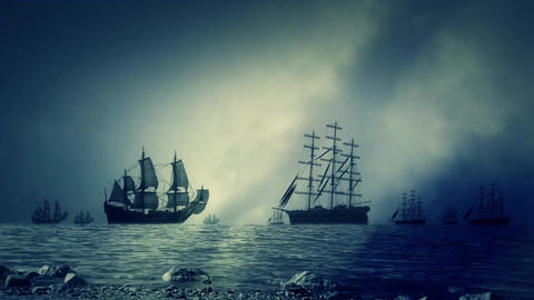 Naval Battle in the Ocean Between Sailing Ships Armies Footage