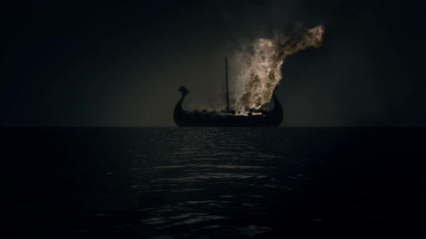 Boat in Flames as part of a Traditional Viking Funeral Filmmaterial