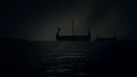Vikings Ships Fleet Sailing to Shore in a Stormy Rainy Day Filmmaterial