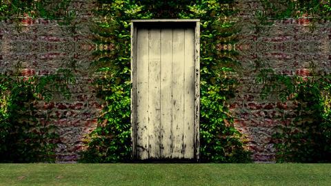 Garden Door Open to a Blue Screen Background Live Action