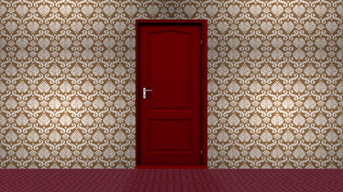 Red Hotel Door Open to a Green Screen Background Live Action