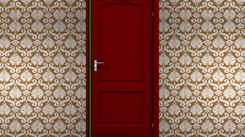 Red Hotel Door Open to a Green Screen Background Stock Video Footage