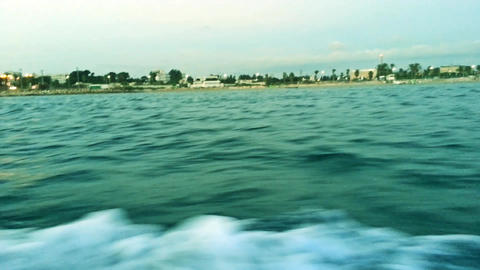 Cruising Speed Boat at Evening to Acre Port in Israel Footage