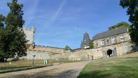 Entrance of Castle Bentheim in Bad Bentheim, time lapse Live Action