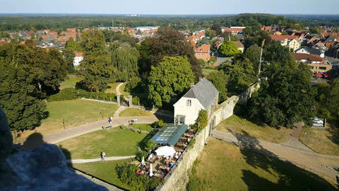 Terrace at entrance seen from the wall of castle Bentheim, Live Action