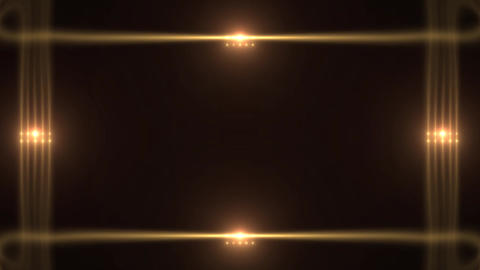 Art Deco Style Frame Decorative Glowing Golden Lights Footage