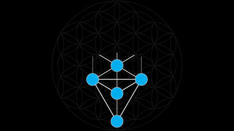 Kabbalah The 10 Sephirot of the Tree of Life on a Flower of Life Background Footage
