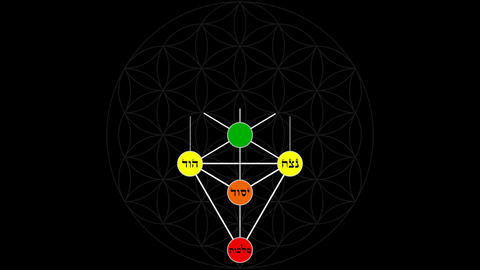 Kabbalah Tree of Life with Hebrew Text in a Color Spectrum on a Flower of Life B Live Action