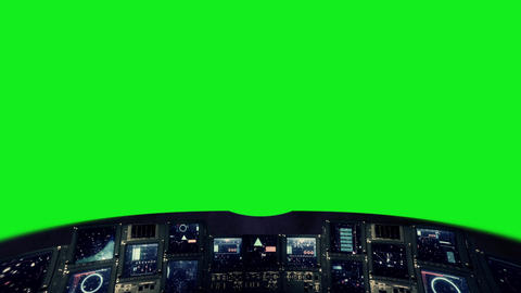 Futuristic Control Panel of a Command Center on a Green Screen Live Action